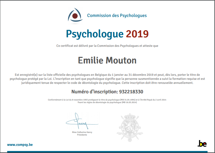 Agrément Psychologue Emilie Mouton 2019